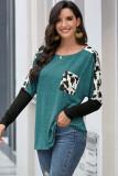 Light Green Long Sleeve Leopard Splicing Sleeve T-shirt