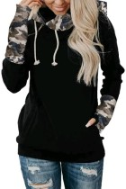 Black Camouflage Striped Sleeve Loose Hoodies