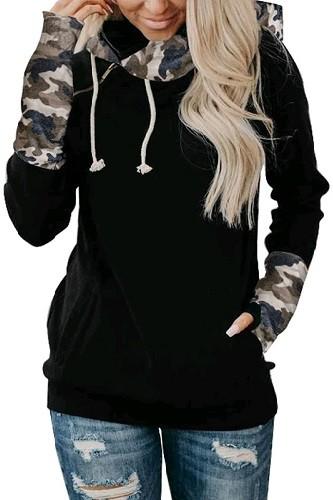 Black Camouflage Striped Sleeve Loose Hoodies