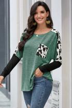 Green Long Sleeve Leopard Print T-shirt