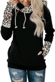 Black Leopard Striped Sleeve Loose Hoodies