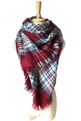Women's Warm Blanket Thick Shawl Plaid Tassel Comfortable Large Fashion Cold Weather Scarf
