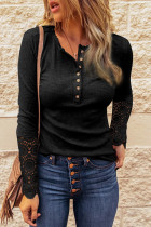 Black Crochet Lace Hem Sleeve Button Top