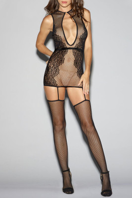 Black Lace Keyhole Hollow-out Fishnet Bodystocking