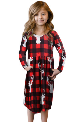 Red Plaid Swing Dress with Hidden Pockets