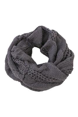 Dark Gray Classic Fashion Knit Circle Scarf