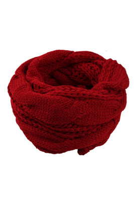 Burgundy Classic Fashion Knit Circle Scarf