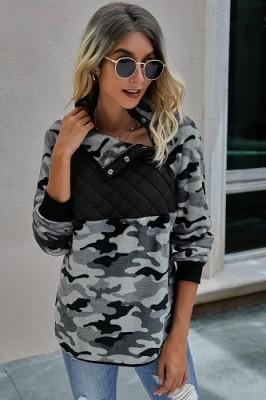 Black Leopard Print Stitching Plush Pullover Sweater