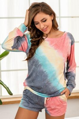 Multicolor Print Home Pajamas Set