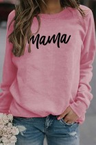 Pink Mama Letter Pinted Loose Pullover Long Sleeve Top