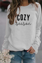 White Letter Printed Casual Pullover Long Sleeve Top