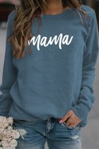 Blue Mama Letter Pinted Loose Pullover Long Sleeve Top