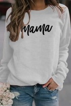 White Mama Letter Pinted Loose Pullover Long Sleeve Top
