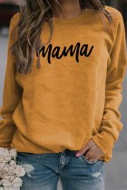 Yellow Mama Letter Pinted Loose Pullover Long Sleeve Top