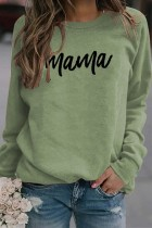 Olivine Mama Letter Pinted Loose Pullover Long Sleeve Top