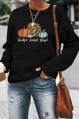 Thankful Grateful Blessed Halloween Letters Long Sleeve Top Black