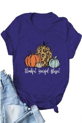 Halloween Pumpkin Printed Crew Neck Short Sleeve T-shirt Light Dark Blue