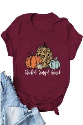 Halloween Pumpkin Printed Crew Neck Short Sleeve T-shirt Light Burgundy