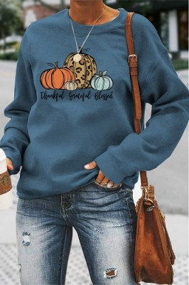 Thankful Grateful Blessed Halloween Letters Long Sleeve Top Blue
