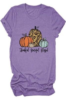 Halloween Pumpkin Printed Crew Neck Short Sleeve T-shirt Light Purple
