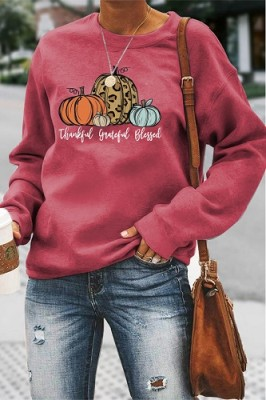Thankful Grateful Blessed Halloween Letters Long Sleeve Top Red