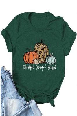 Halloween Pumpkin Printed Crew Neck Short Sleeve T-shirt Light Dark Green