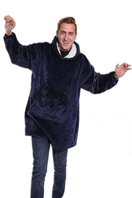 Blue Outdoor Cold-proof Hoodie Fleece Warm Outerwear