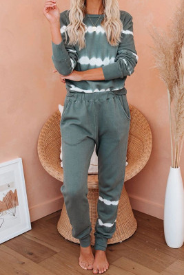 Army Green Tie-dye Stripes Pullover Top and Pants Lounge Set