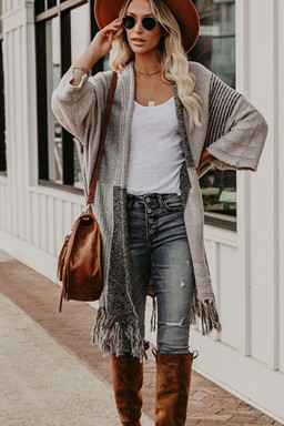 Tassel Knitted Women Cardigan Coat