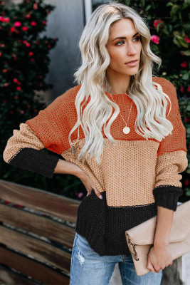 Orange Color Block Netted Texture Pullover Sweater