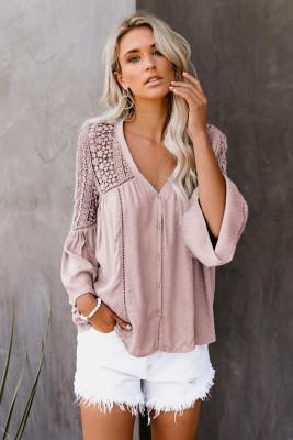 Pink The Du Jour Crochet Blouse