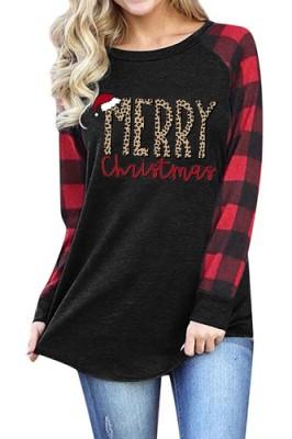 Merry Christmas Hat Printed Crew Neck Long Sleeve T-shirt 002