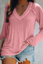 Solid Color V Neck Long Sleeve Tops