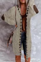 Patchwork Long Sleeve Women Cardigan