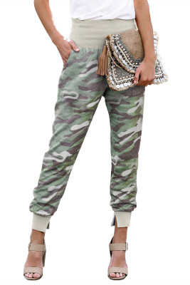 Light Green Camouflage Pocket Casual Pants With Slit