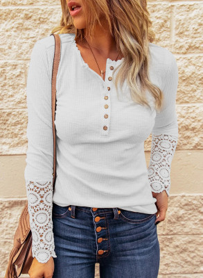 White Crochet Lace Hem Sleeve Button Top