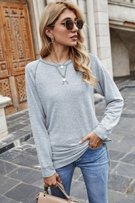 Light Blue Sweater Cross Crew Neck Pullover Long Sleeve Top