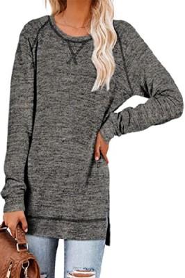 Dark Grey Sweater Cross Crew Neck Pullover Long Sleeve Top