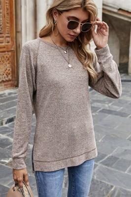 Khaki Sweater Cross Crew Neck Pullover Long Sleeve Top