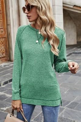 Green Sweater Cross Crew Neck Pullover Long Sleeve Top