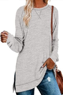 Light Grey Sweater Cross Crew Neck Pullover Long Sleeve Top