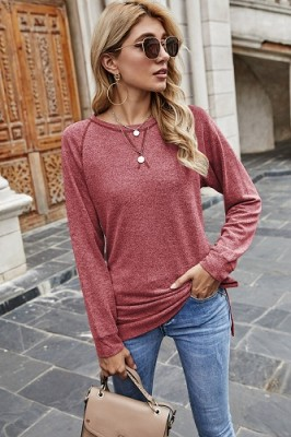 Red Sweater Cross Crew Neck Pullover Long Sleeve Top
