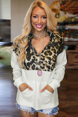 White Zipper Stand Neck Dropped Sleeve Leopard Splice Sweatshirt