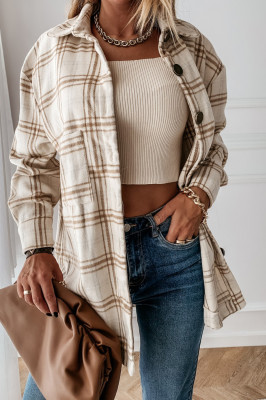 Plaid Turn Down Collar Woman Coats