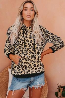 Hoodies Leopard Printed Large Pocket Long Sleeve Sweatshirt