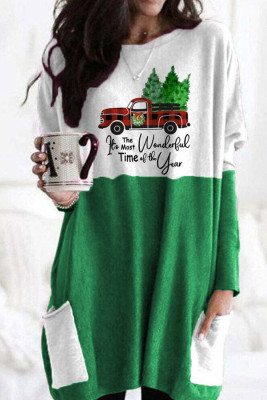 Green Christmas Printed Contrast Tunic Top