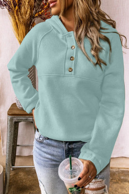 Solid Color Button Casual Hoodie