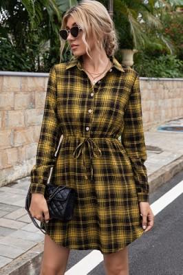 Casual Mid-length Waist Yellow Plaid Dress Shirt