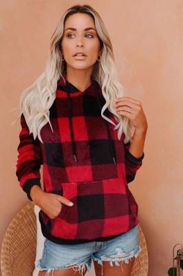 Hoodies Red Black Plaid Large Pocket Long Sleeve Sweatshirt