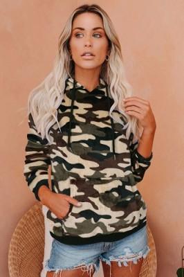 Hoodies Camouflage Large Pocket Long Sleeve Sweatshirt